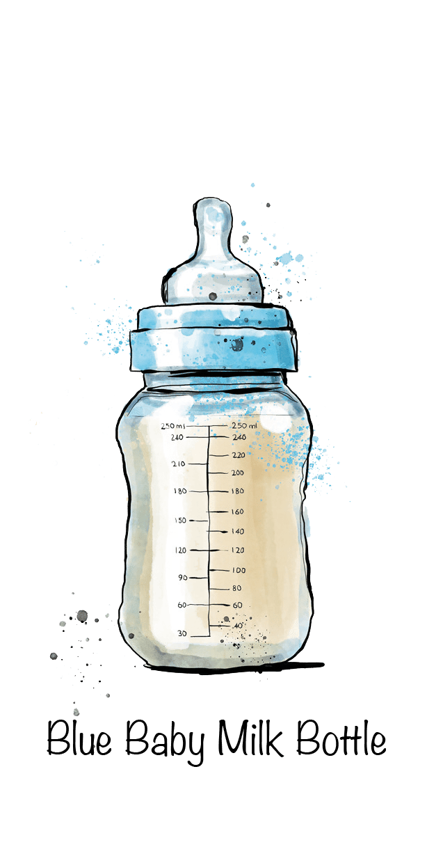 Blue Baby Milk Bottle